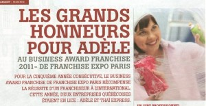 Business Award Franchise 2011 - grands honneurs